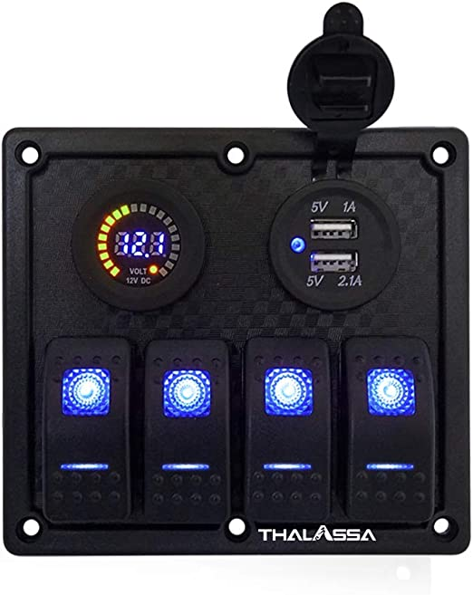 Pactrade Marine Car RV Bus Truck 4 Gang Aluminum Blue LED Switch Panel USB Power