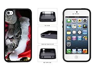 Cute Cat in Santa Hat TPU RUBBER SILICONE Phone Case Back Cover Apple iPhone 4 4s