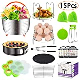 15 Pieces Accessories Set Compatible with 6,8 Qt InstaPot, Ninja Foodi (8qt), Other Pressure Cookers, with Steamer Basket, Springform Pan, Stackable Egg Rack, Egg Bites Mold, Oven Mitts and More