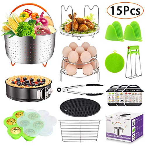 15 Pieces Accessories Set Compatible with 6,8 Qt InstaPot, Ninja Foodi (8qt), Other Pressure Cookers, with Steamer Basket, Springform Pan, Stackable Egg Rack, Egg Bites Mold, Oven Mitts and More by JGSY (Image #7)
