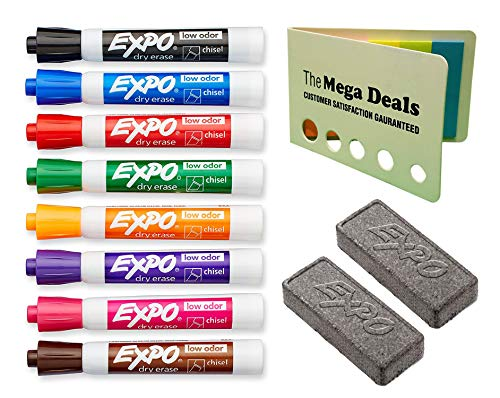 EXPO Low Odor Dry Erase Marker Chisel Tip Assorted 8/Set | Expo Block Eraser Dry Erase Whiteboard Board Eraser, Soft Pile, 2 Pack | Includes 5 Color Flag Set