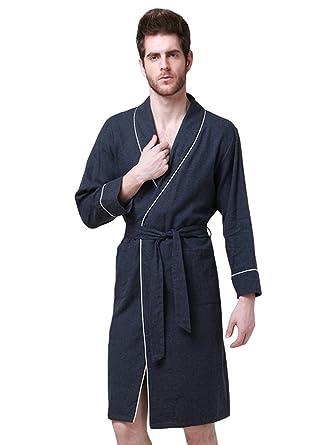 YiLianDa Hombre Pijamas Conjunto Batas Robe Albornoz Ropa de Dormir Pijama Azul 2XL: Amazon.es: Ropa y accesorios