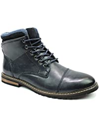 Mens Ankle Boot Cap Toe Derby Modern Lace Up Round Toe