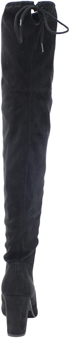 Delicious Womens Faux Suede Back Tie Over The Knee Heel Boot