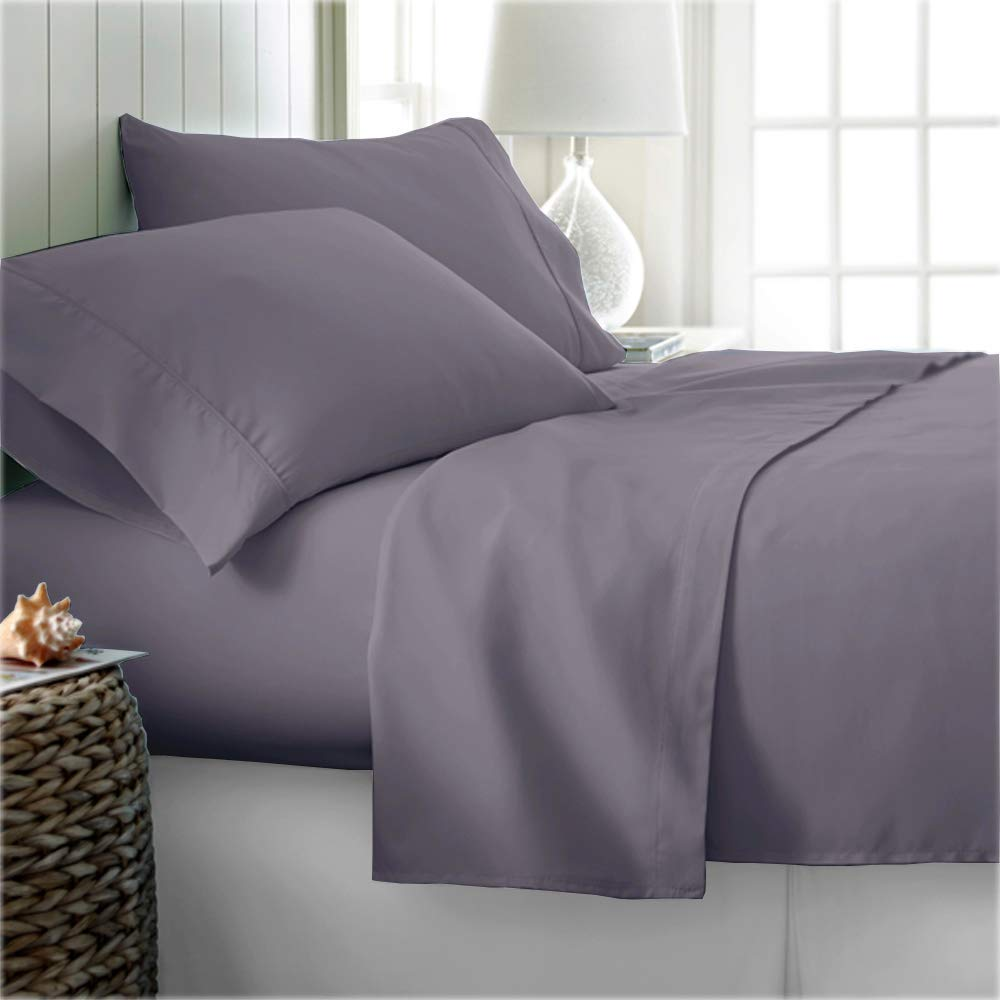 Nish & Joe 300 Thread Count 100% Cotton Sheet Set Luxury Bed Linen Home & Hotel Collection Natural Soft & Silky Sateen Weave Sheets and Pillowcases Upto 15 Inch Deep Pocket (King Size Grey)