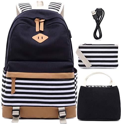 Canvas Backpack Girls Stripe School Bookbag Women College Backpack With USB Port...