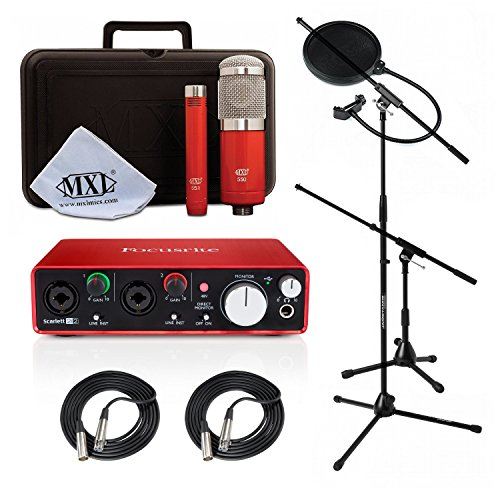 Price comparison product image Home Recording Studio Bundle MXL 550 / 551R Focusrite Scarlett 2i2 (2nd GEN) with Stands,  Cables and Filter