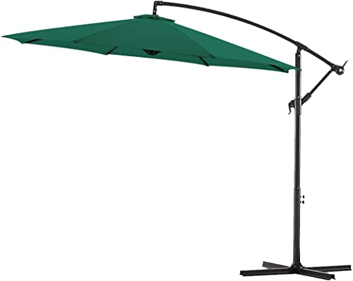 Bluu 10ft Patio Offset Umbrella Cantilever Umbrella Hanging Market Umbrella Outdoor Umbrella