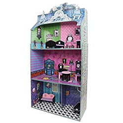 Teamson Kids - Monster Mansion Wooden Doll House with 7 pcs Furniture for 12 inch Dolls