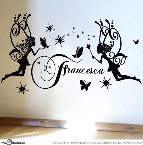 STICKTAK STICKERS Custom Name Fairy Butterflies Stars Vinyl Sticker Wall Art Decal – 1set – ST1127 – AUSTRALIAN MADE – GENUINE HANDMADE PRODUCT IS SOL…