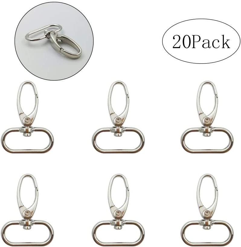 """Metal Lobster Snap Clasps Silver Swivel Clasp 1"""" Inside Diameter Oval Swivel Trigger Clips Hooks (Pack of 20) (Silver)"""