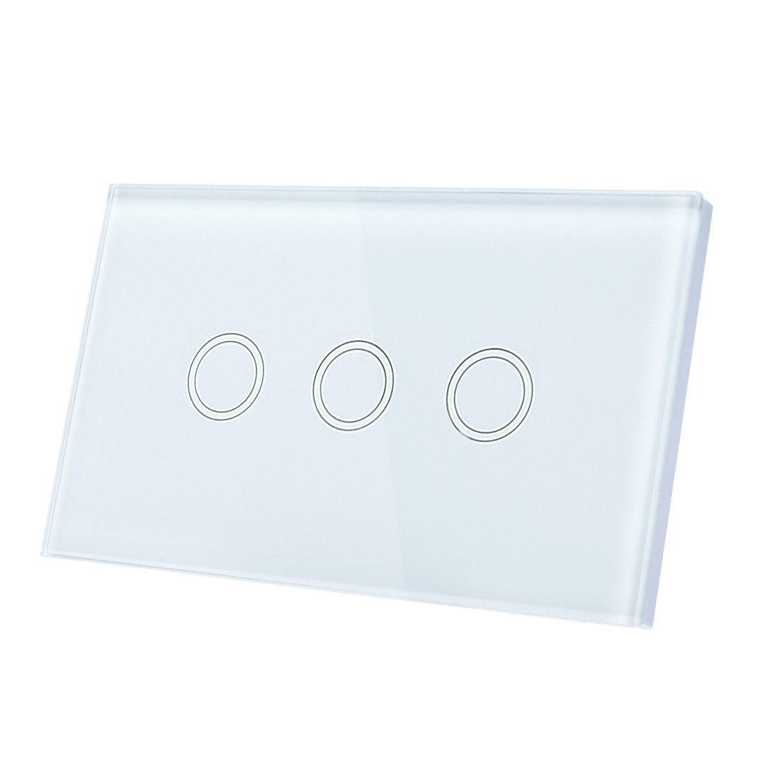 uxcell Touch Wall Light Switch, Luxury Crystal Glass Panel, AC 110-240V 1 Way 3 Gang Smart Touch Switch White US