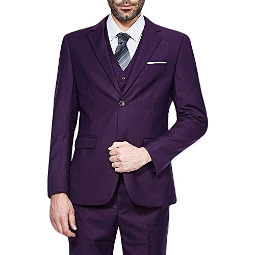 YIMANIE Men's Suit 3 Piece Single Breasted Jacket Two Button Slim Fit Blazer Tux (Mens Two Button Single)