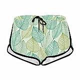 InterestPrint Women's Spring Elegant Leaves Summer Casual Shorts M