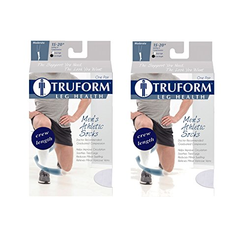 Truform 1932, Cushion Foot Compression Socks, Crew Length, 15-20 mmHg, White, Large (Pack of ()