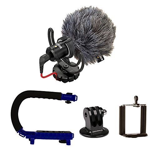Package Cam (Scorpion Jr. (BLUE) + Rode VideoMicro BUNDLE – Compact On-Camera Microphone with Ryocote Lyre Shock Mount + Camera Handle Support)