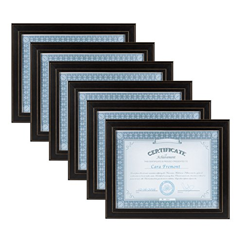 (DesignOvation Kieva Solid Wood Document Frames, Distressed Black 8.5x11, Pack of 6)