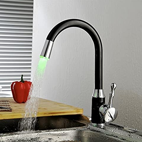Greenspring Black Solid Painting Deck Mount Painting Finish Kitchen Sink Faucet LED light Wet Sink Bar Faucet , Oil Rubbed (Kitchen Sink Faucet Led)