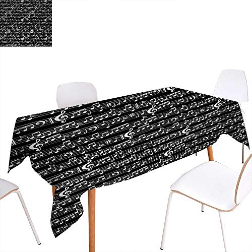 Warm Family Music Customized Tablecloth Musical Notes and Clef Figure Sheet Pattern in Artistic Abstract Style Print Stain Resistant Wrinkle Tablecloth 70