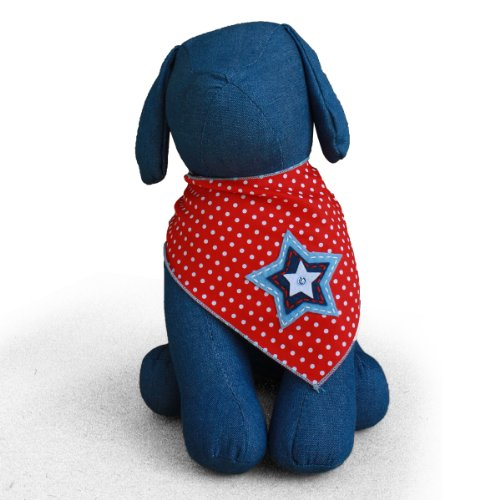 Image of Tail Trends Dog Bandanas with Star Design for BBQ Beach Days Fits Medium to Large Sized Dogs- 100% Cotton