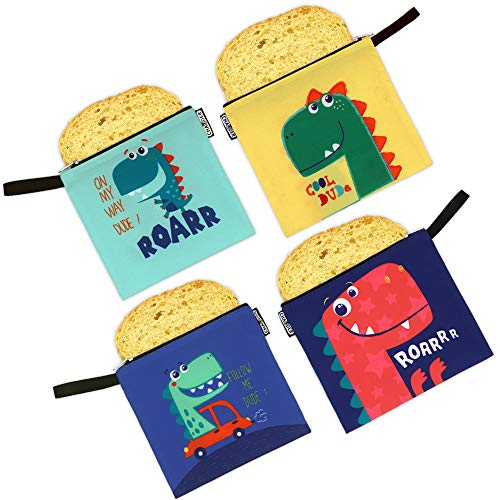 CHAUDER Reusable Snack & Sandwich Bags - Set of 4 – Eco Friendly, FDA Certified, Dishwasher Safe, Easy to Clean & Quick Drying - Smooth Open Zipper - For Kids To School, Kindergarten& Picnic, Dinosa