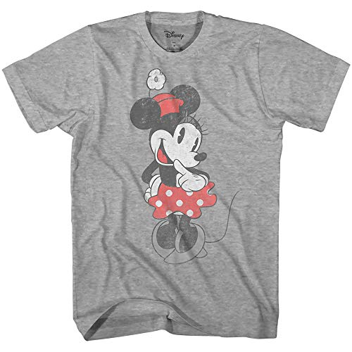 Shy Minnie Mouse Graphic Tee Classic Vintage Disneyland World Mens Adult T-Shirt Apparel (Smoke Grey, XXX-Large)