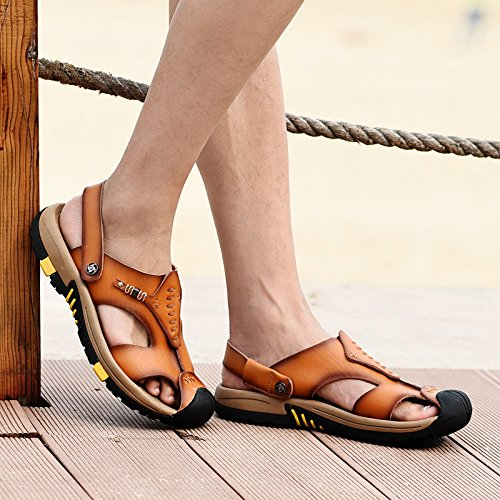 Hiking Beach Summer Sandals Toe Outdoors Walking Closed Sports Breathable And Brown Leather Trail Mens Shoes FBqO8xwI