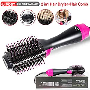 Hot Air Brush, One Step Hair Dryer Styler Volumizer 2-in-1 Salon Negative Ion Hair Straightener Anti-Scald Curly Hair Comb Straightener