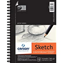 Canson Artist Series Universal Paper Sketch Pad, for Pencil and Charcoal, Micro-Perforated, Side Wire Bound, 65 Pound, 5.5 x 8.5 Inch, 100 Sheets