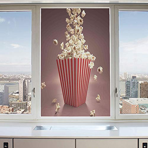 (3D Decorative Privacy Window Films,Retro Style Popcorn Art Image Home Cafe Design Kitchenware Cardboard Vintage Cinema,No-Glue Self Static Cling Glass film for Home Bedroom Bathroom Kitchen Office 24x )