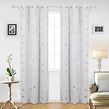 Deconovo Blackout Curtains Sliver Star Print Solid Thermal Insulated Curtain 42 X 95 Inch Greyish