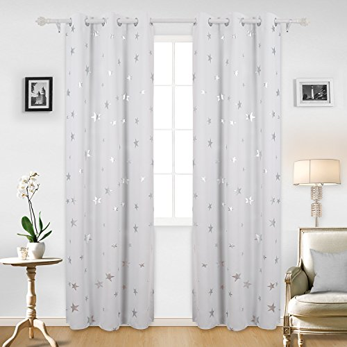 Deconovo Blackout Curtains Sliver Star Print Solid Thermal Insulated Blackout Curtain 42 X 95 Inch Greyish White 2 Panels
