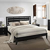 Roundhill Furniture Gloria Black Finish Wood King Size Bed