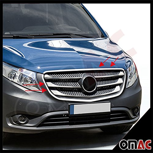 OMAC USA Stainless Steel Chrome Front Grille Cover & Cover Frame Trim Kit Set for Mercedes METRIS