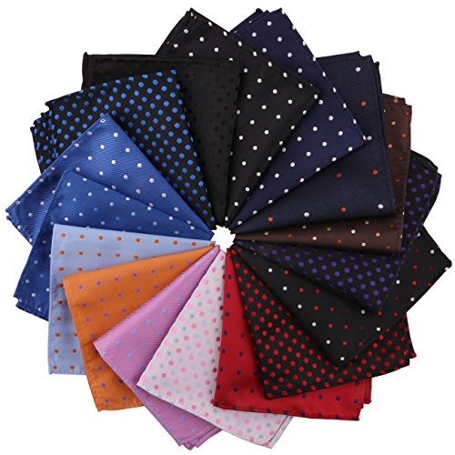 Driew 16 PCs Men Suit Pocket Square Handkerchiefs with Polka Dot Pattern