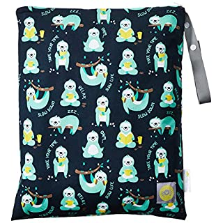 """Itzy Ritzy Sealed Wet Bag with Adjustable Handle – Washable and Reusable Wet Bag with Water Resistant Lining Ideal for Swimwear, Diapers, Gym Clothes & Toiletries; Measures 14"""" x 17"""", PhiliSLOTHical"""