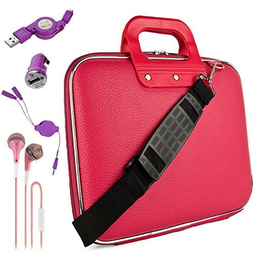 "Pink Lottie Travel Bag w/Micro USB Cable & Charger, 2-in-1 3.5mm Headpone Jack Adaper & More For 9.7"" to 10.1"" Tablets, 2in1, Convertible Laptops"