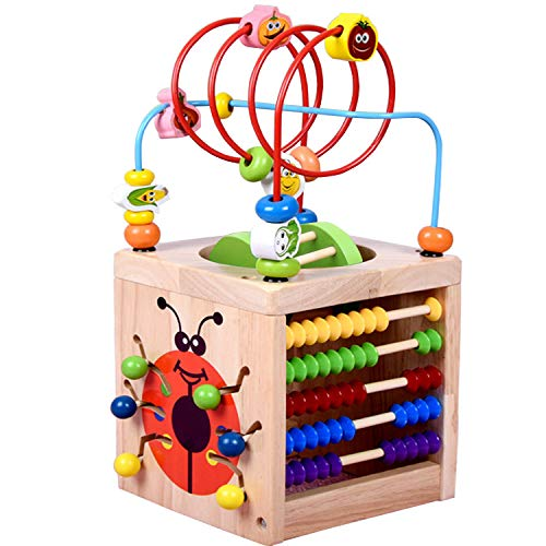 Amagoing 6-in-1 Activity Cube Multifunction Bead Maze Roller Coaster Classic Wooden Educational Toys for Kids ()