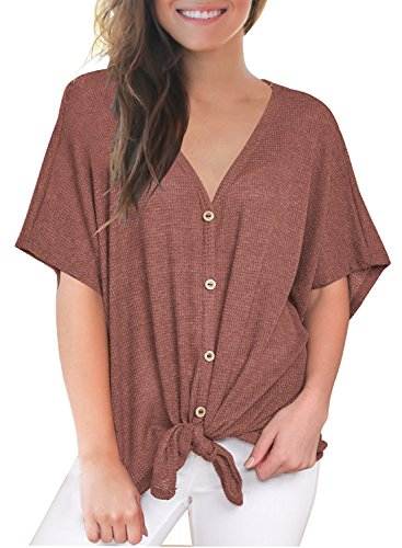 MIHOLL Womens Loose Blouse Short Sleeve V Neck Button Down T Shirts Tie Front Knot Casual Tops (Small, Red)