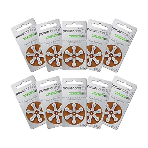 Power One Hearing Aid Batteries - Size P312-60 Pack - Complimentary Battery Keychain Kit