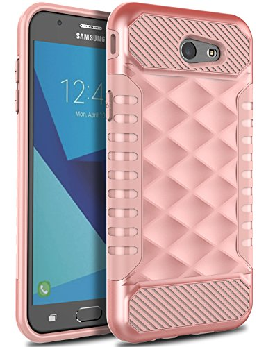 Samsung J7 Prime Case, Galaxy J7 V Case, Galaxy J7 Perx Case OTOONE [Geometric Series] Slim Dual Layer Shock Proof Flexible Silicone Protective Case Cover for Samsung Galaxy J7 Sky Pro (Rose Gold)