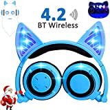Wireless Bluetooth Headphones with Cat Ear AMENON Rechargeable On/Over-ear Foldable LED Lights Gaming Headset for Girls or Boys Compatible with IOS phone and Android Phone Laptop (3-1 Blue) For Sale