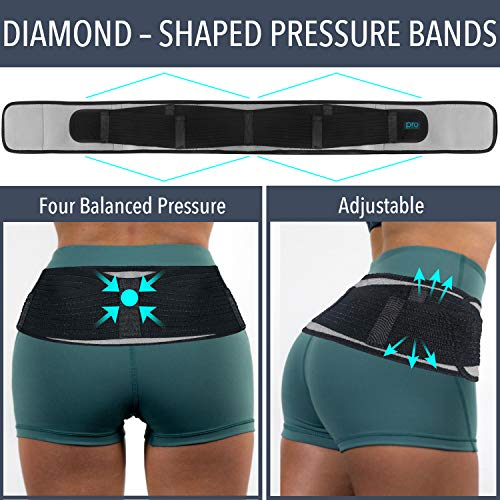 Sacroiliac Hip Belt for Women & Men That Alleviate Sciatica, Lower Back & Lumbar Pain Relief. Diamond Back Brace Provides SI Joint Pelvic Support, Nerve Compression & Stability, Anti-Slip