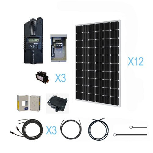 RENOGY 3000W Monocrystalline Cabin Solar Kit: 12 250W Mono Solar Panels(free upgrade to 255w) + 1 Midnite MPPT Controller + 3 Pairs of 40Ft MC4 Adaptor Kits + Combiner Box and 3 Breakers Renogy Solar Power And Accessories