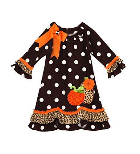 Rare Editions Girls Pumpkin Polka Dot Dress, Black (5)