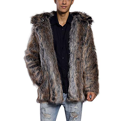Fox All Jacket Weather (kaifongfu Mens Warm Leopard Cardigan,Fur Collar Thick Coat Faux Fur Parka (Brown,XXXL))
