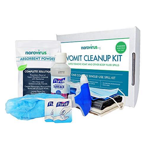 (Norovirus Body Fluid Spill Kits | Single-Use 23 Piece Complete Clean Up Kits | FDA Food Code & OSHA Compliant (Single Kit))