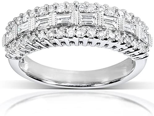 Kobelli Round and Baguette Cut Diamond Band 5/8 carat (ctw) in 14K White Gold