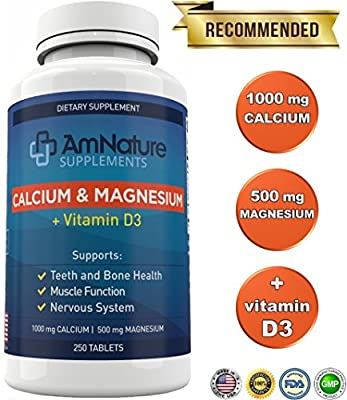 Calcium & Magnesium + Vitamin D3 and Bentonite Clay - 1000mg Calcium and 500mg Magnesium - Optimal 2:1 Ratio for Teeth and Bone Health, Nervous System, Muscle Function and More, 250 Tablets, 3 Months
