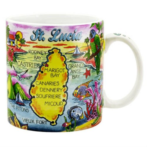 St. Lucia Caribbean Map Souvenir Collectible Large Coffee Mug (4